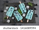 blue popsicles with blueberries ... | Shutterstock . vector #1416089594
