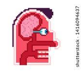 anatomy head pixel art. cartoon ... | Shutterstock .eps vector #1416094637