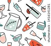 fresh cocktails seamless... | Shutterstock .eps vector #1416141281