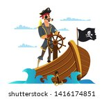 Captain at wheel flat vector illustration. Parrot on shoulder. Pirate, sailor buccaneer cartoon character. Boatswain with eyepatch. Medieval sea dog isolated design element. Black sail with skull