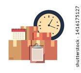cardboard boxes clipboard... | Shutterstock .eps vector #1416175127