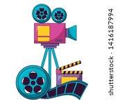 projector reel strip film...   Shutterstock .eps vector #1416187994