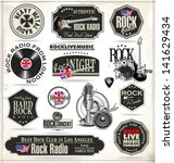 rock music stamps and labels | Shutterstock .eps vector #141629434