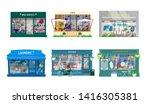 vector set of shops exteriors.... | Shutterstock .eps vector #1416305381