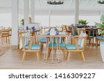 beautiful empty table and chair ... | Shutterstock . vector #1416309227