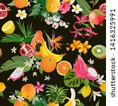 seamless pattern with tropical... | Shutterstock .eps vector #1416325991