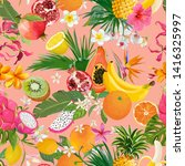 seamless pattern with tropical... | Shutterstock .eps vector #1416325997