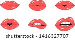 red lips mouth vector. flat...   Shutterstock .eps vector #1416327707