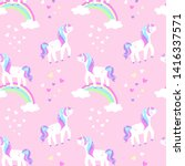 unicorn on a rainbow seamless... | Shutterstock . vector #1416337571