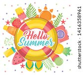 hello summer poster with... | Shutterstock .eps vector #1416358961
