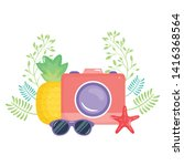 camera photographic with summer ...   Shutterstock .eps vector #1416368564