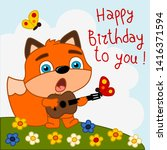 greeting card   funny fox with... | Shutterstock .eps vector #1416371594