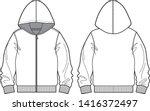 jacket hood vector template for ... | Shutterstock .eps vector #1416372497