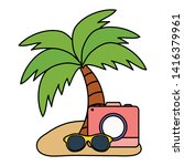 camera photographic with summer ...   Shutterstock .eps vector #1416379961
