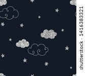 starry night with clouds... | Shutterstock .eps vector #1416383321