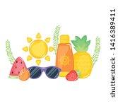 solar blocker bottle with... | Shutterstock .eps vector #1416389411