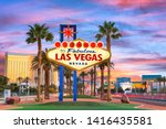 Las Vegas, Nevada, USA at the Welcome to Las Vegas Sign at dusk. - stock photo
