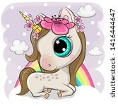 cute cartoon unicorn with... | Shutterstock .eps vector #1416444647