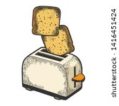 toaster with flying out bread... | Shutterstock .eps vector #1416451424