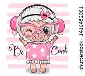 Cute Cartoon Sheep In A Pink...
