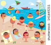Beach  Cartoon Illustration Of...