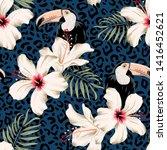 toucans  hibiscus flowers  palm ... | Shutterstock .eps vector #1416452621