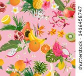 seamless pattern with tropical... | Shutterstock .eps vector #1416458747