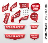 set of red ribbon and banner... | Shutterstock .eps vector #1416466481