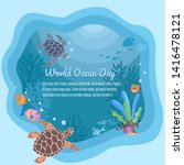 world oceans day vector design. | Shutterstock .eps vector #1416478121