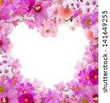Pink Heart Shape Floral Frame...
