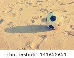 Vintage Soccer Ball On Sand