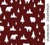 seamless pattern with bear.... | Shutterstock .eps vector #1416545624