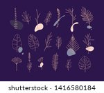set of different forms leaves... | Shutterstock .eps vector #1416580184
