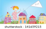happy child girl in the town... | Shutterstock .eps vector #141659215