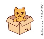cute cartoon cat in cardboard... | Shutterstock .eps vector #1416593291