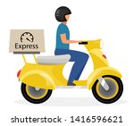 express delivery flat vector... | Shutterstock .eps vector #1416596621