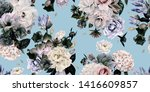 seamless floral pattern with... | Shutterstock . vector #1416609857