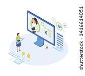 telemedicine expert at work...   Shutterstock .eps vector #1416614051