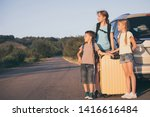 happy brother and his two... | Shutterstock . vector #1416616484