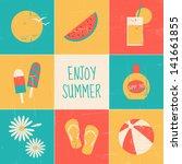 a set of nine minimalist summer ... | Shutterstock .eps vector #141661855