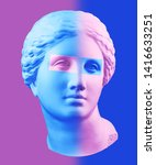 Small photo of Modern conceptual art poster with blue purple colorful antique Venus bust. Contemporary art collage.
