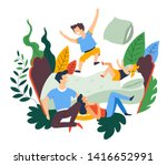 pillow fight and jumping on bed ... | Shutterstock .eps vector #1416652991
