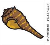 cute brown spiny shell cartoon... | Shutterstock .eps vector #1416671114