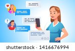 modern team communication.... | Shutterstock .eps vector #1416676994