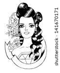 old school tattoo    pin up... | Shutterstock .eps vector #141670171
