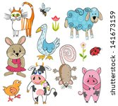 set of cartoon animals | Shutterstock .eps vector #141673159