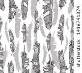 silver vector seamless feathers ... | Shutterstock .eps vector #1416741374