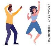 interracial young couple... | Shutterstock .eps vector #1416744017
