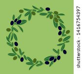 a wreath of green and purple... | Shutterstock .eps vector #1416754397