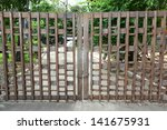 Wooden Gate With Key And Chain...